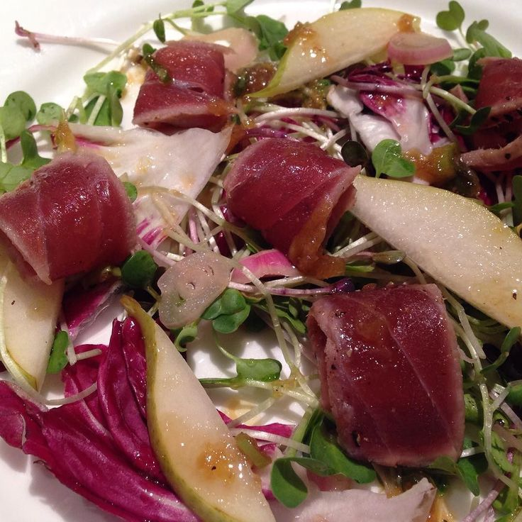 #Recipe testing at home for @dinnerpartyyvr on April 9: Seared #ahi #tuna #tataki pear pickled shallots #radish sprouts and #radicchio #salad with #homemade #ponzu dressing #yvr  #vancouverisawesome #vandiary #homechef #homecook #Cookingwithlove #simplemealideas #mealideas #dinnerpartyyvr #2016 #Japanese #nomnom by mygoldenapron