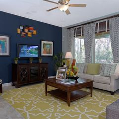 Eclectic Living Room By David Weekley Homes The Navy Blue Accent Wall Works Perfectly With