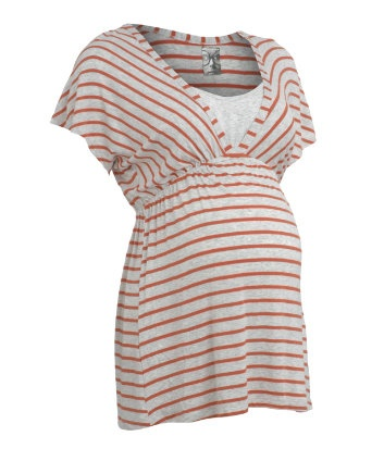 Blooming Marvellous Maternity Grey and Orange Stripe Empire Seam Nursing Top