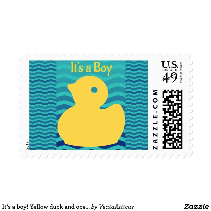 It's a boy! Yellow duck and ocean waves.