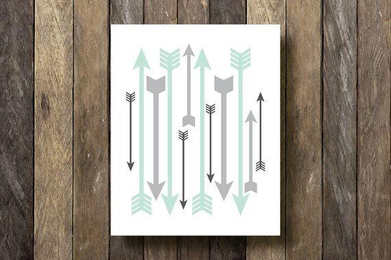 Arrows Print - Instant Download Printable - Tribal Decor - Mint and Gray - Arrow Printable - Tribal Wall Decor - Tribal Nursery - Printables...