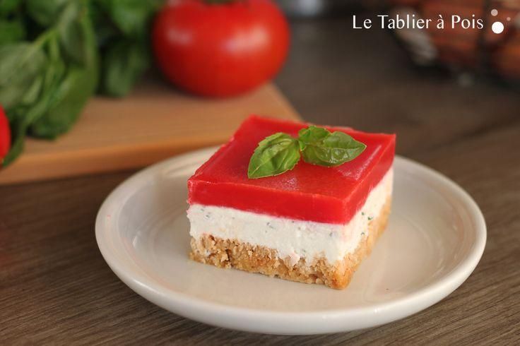 Recette cheesecake salé chèvre basilic et tomate poivron