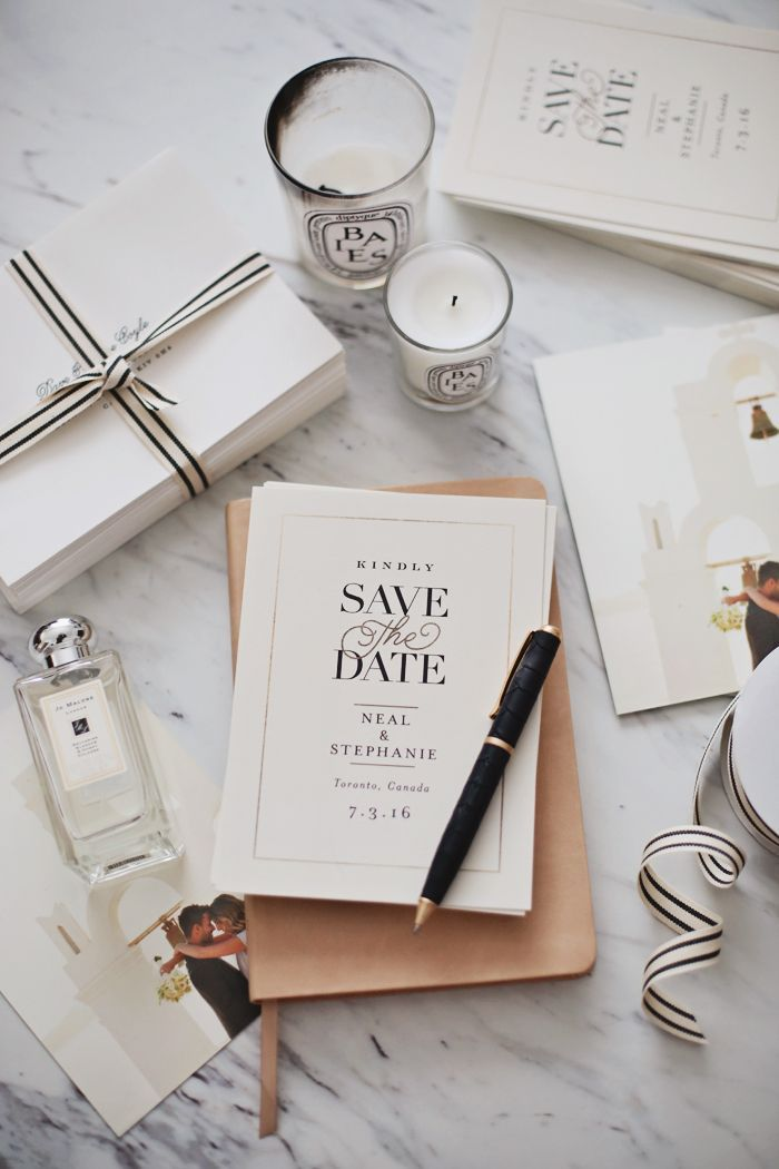 A classic Save the Date Minted design