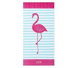 Breton Stripe Flamingo Beach Towel