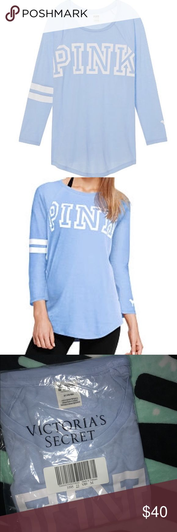 🆕Bundle & Save PINK VS Perfect Baseball Tee Price Firm unless bundle:A classic three-quarter tee with team graphics and a relaxed fit.Shipped in online original packaging   Color:Morning Sky Three-quarter sleeves Curved hem Team graphic on front and back Imported cotton/polyester PINK Victoria's Secret Tops Tees - Long Sleeve