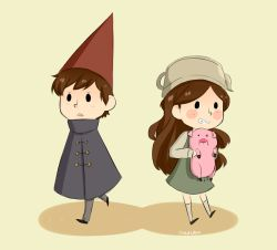 My art crossover fan art gravity falls dipper pines mabel pines Waddles over the garden wall otgw