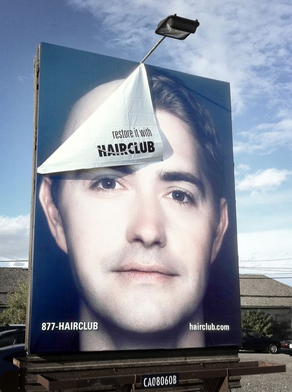Good way of advertising loss of hair and how you can combat it. it is a unique way of advertising it because its saying your hair may be slowly peeling away but you can stop it if you use our product.