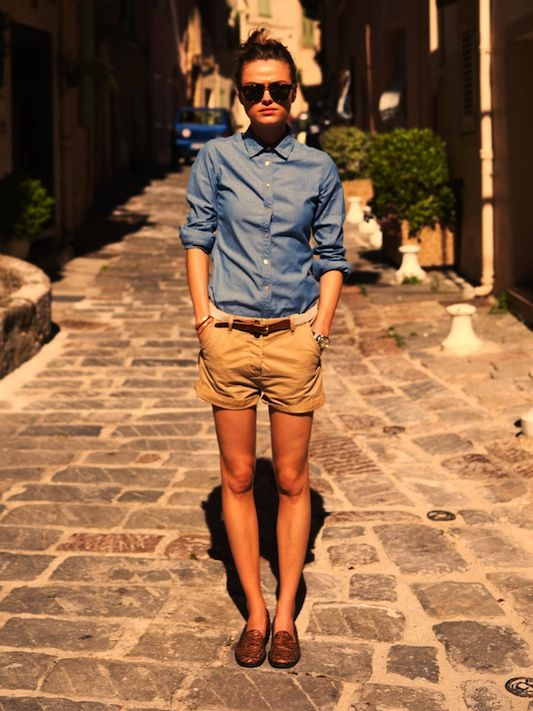 shorts & chambray. I don't think her neck can breathe with those buttons at the top!