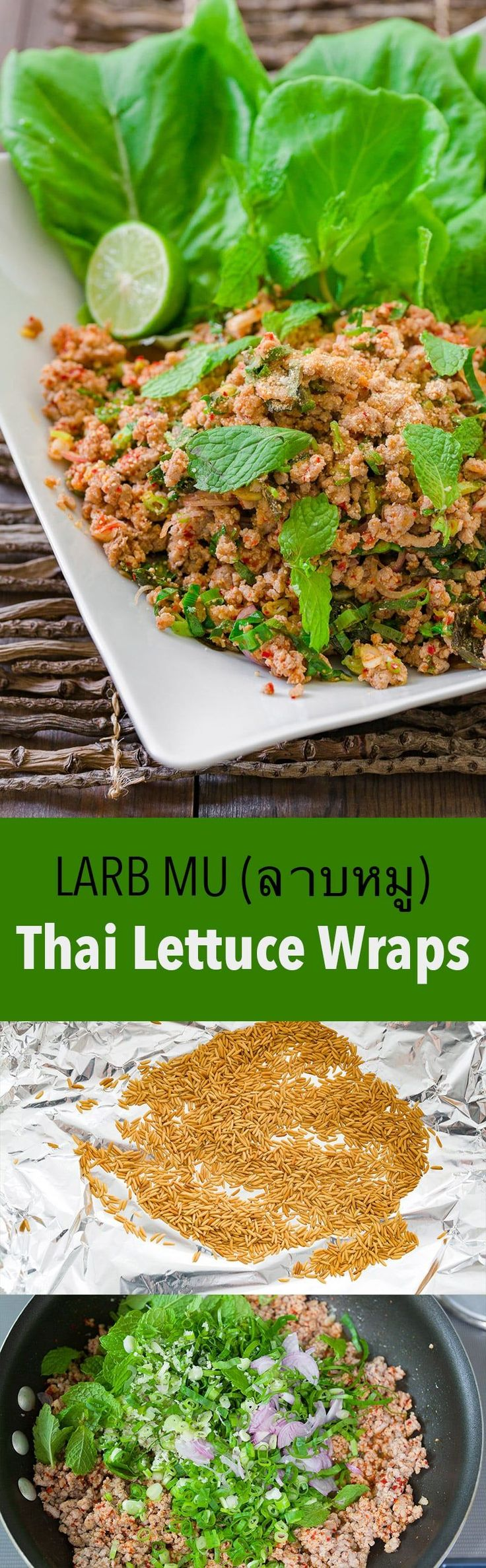 "Larb Mu (ลาบหมู), or ""pork larb"" is an easy Isan Thai/Lao salad made with ground meat, mint, lemongrass, chilies, and a tart and savory dressing."
