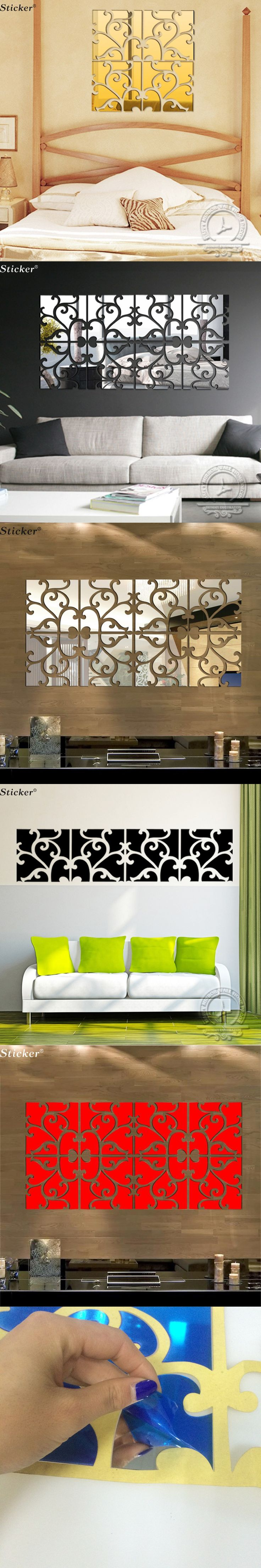 Creative 3d mirror wall stickers 30x60cm/set Diy acrylic mirror surface Tv background wall sticker Home Decoration $17.9