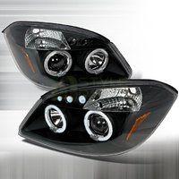 Cheap 2005-2010 Chevy Cobalt Halo Led Projector Headlights Black sale