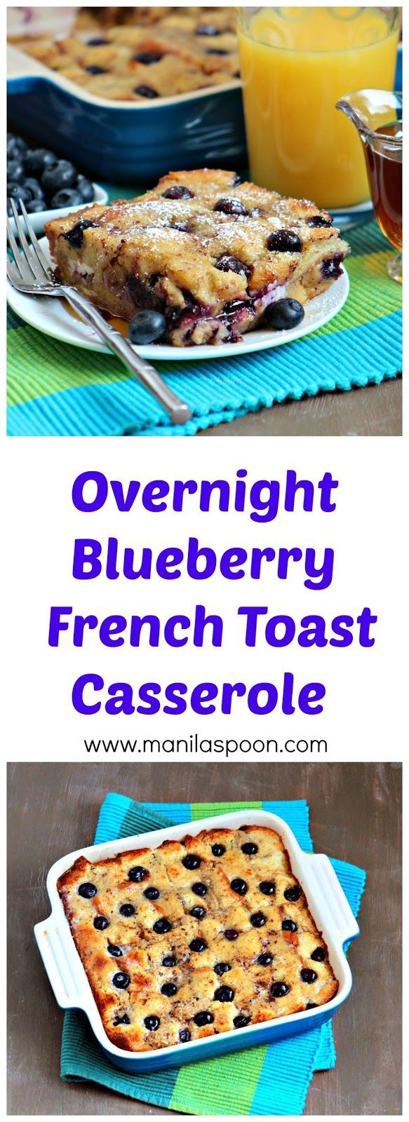 Juicy berries, crunchy walnuts plus yummy cream cheese and warmed up maple syrup make this a fantastic breakfast or brunch dish - Overnight Blueberry French Toast Casserole