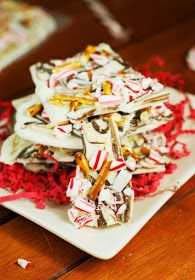 White Chocolate Peppermint-Pretzel Bark  www.thekitchenismyplayground.com