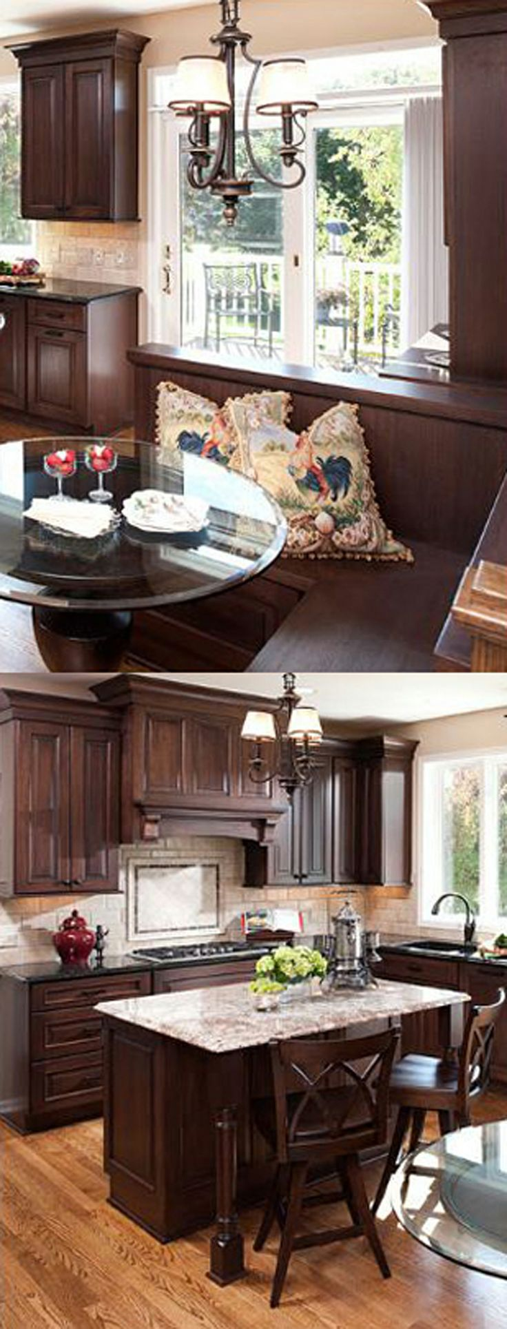 Traditional Kitchen Remodel With Dark Cabinetry And L Shaped Corner Breakfast Nook Designed By