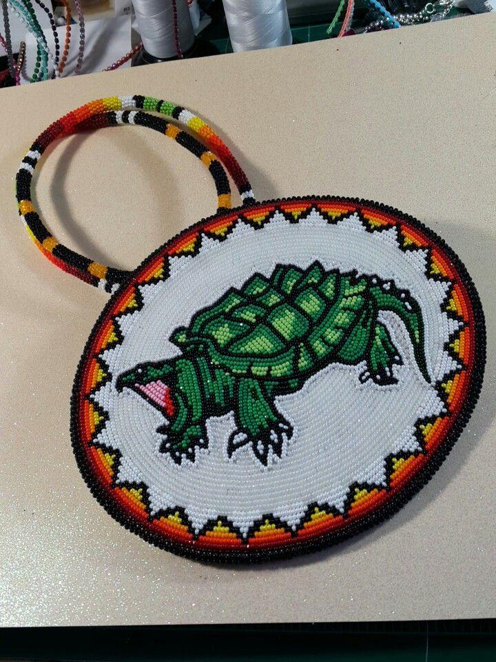 Beaded Snapping Turtle Medallion using size 11 Charlotte cut beads Pow Wow Regalia beaded by Asdzaa Ta'neeszahnii from Taneeszahnii Designs