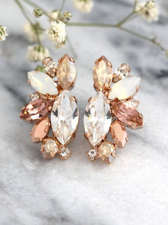 Rose Gold Champagne Cluster Earrings,Blush Bridal Earrings,Bridal Rose Gold…