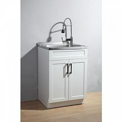 this utility laundry sink with cabinet includes a fully assembled
