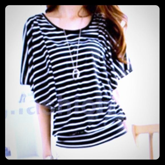 Black & White Striped Batwing Top A soft cotton has flowy sleeves and a nice wide bottom hem. Black with white stripes. Tops