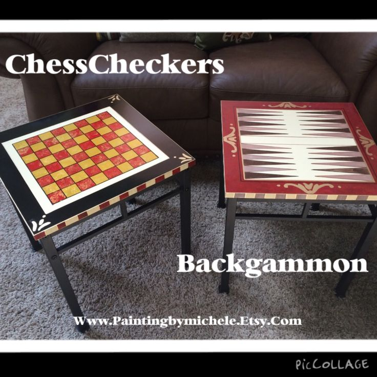 Custom hand painted game table chess checkers backgammon whimsical painted furniture by paintingbymichele on Etsy