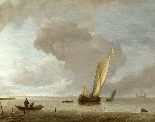 A Small Dutch Vessel Before A Light Breeze Jan van de Cappelle