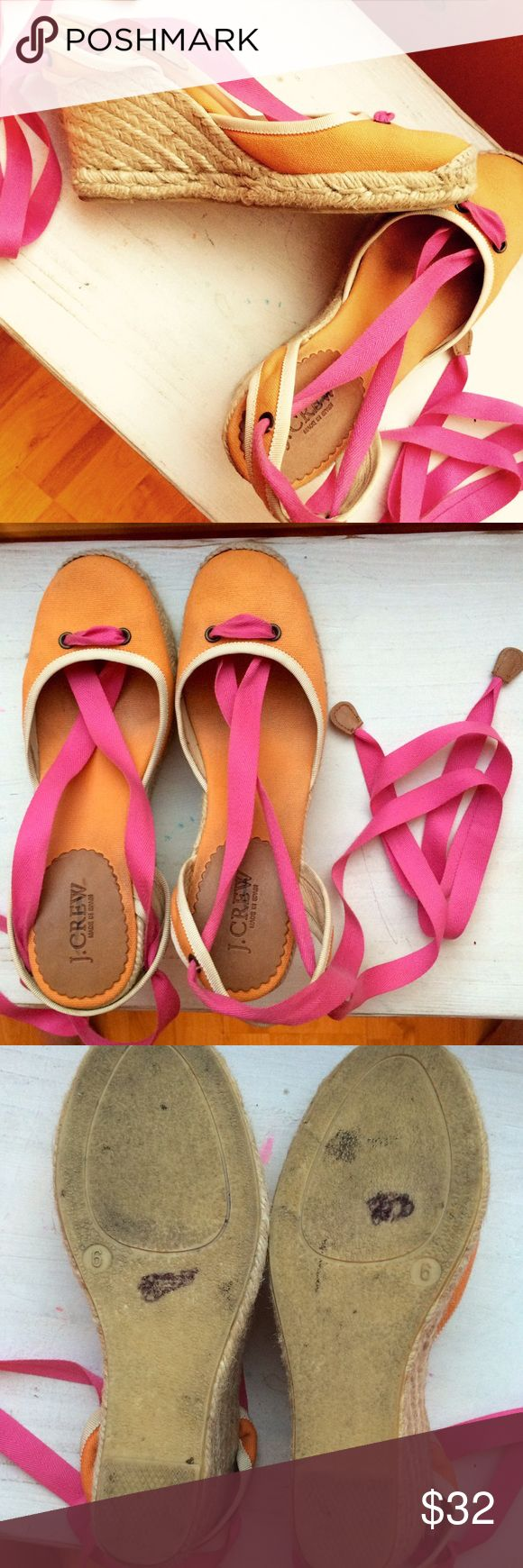 J. Crew colorful espadrilles Pretty orange and pink espadrilles, used but good condition. J. Crew Shoes Espadrilles