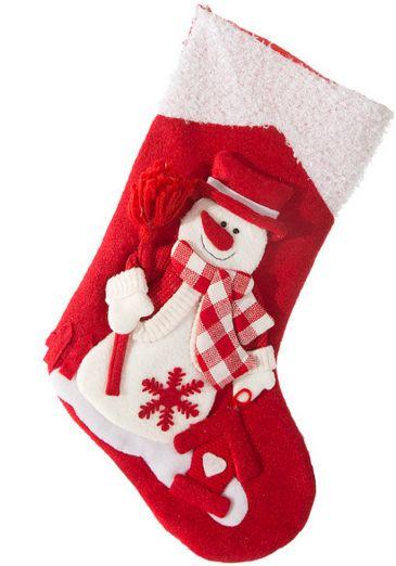 Świąteczna czerwona skarpeta dekoracyjna z białym bałwankiem
