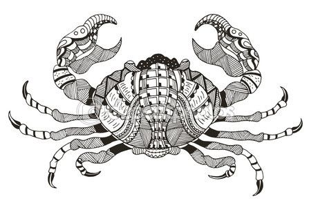 Zodiac sign - Cancer. Vector illustration. Crab. Zentangle stylized. Horoscope. Pattern. Hand drawn. Freehand pencil. — Vector de stock