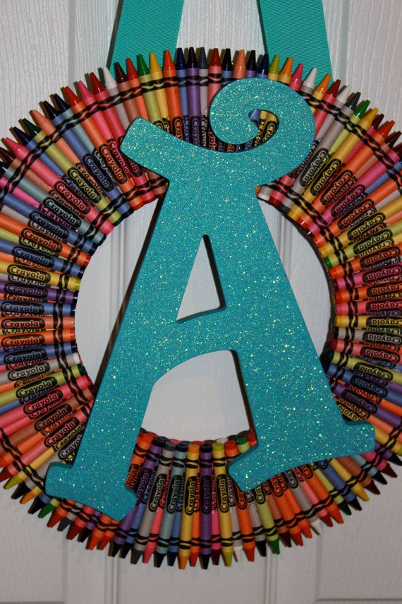 Crayon Wreath In A Pizza Box With Initial