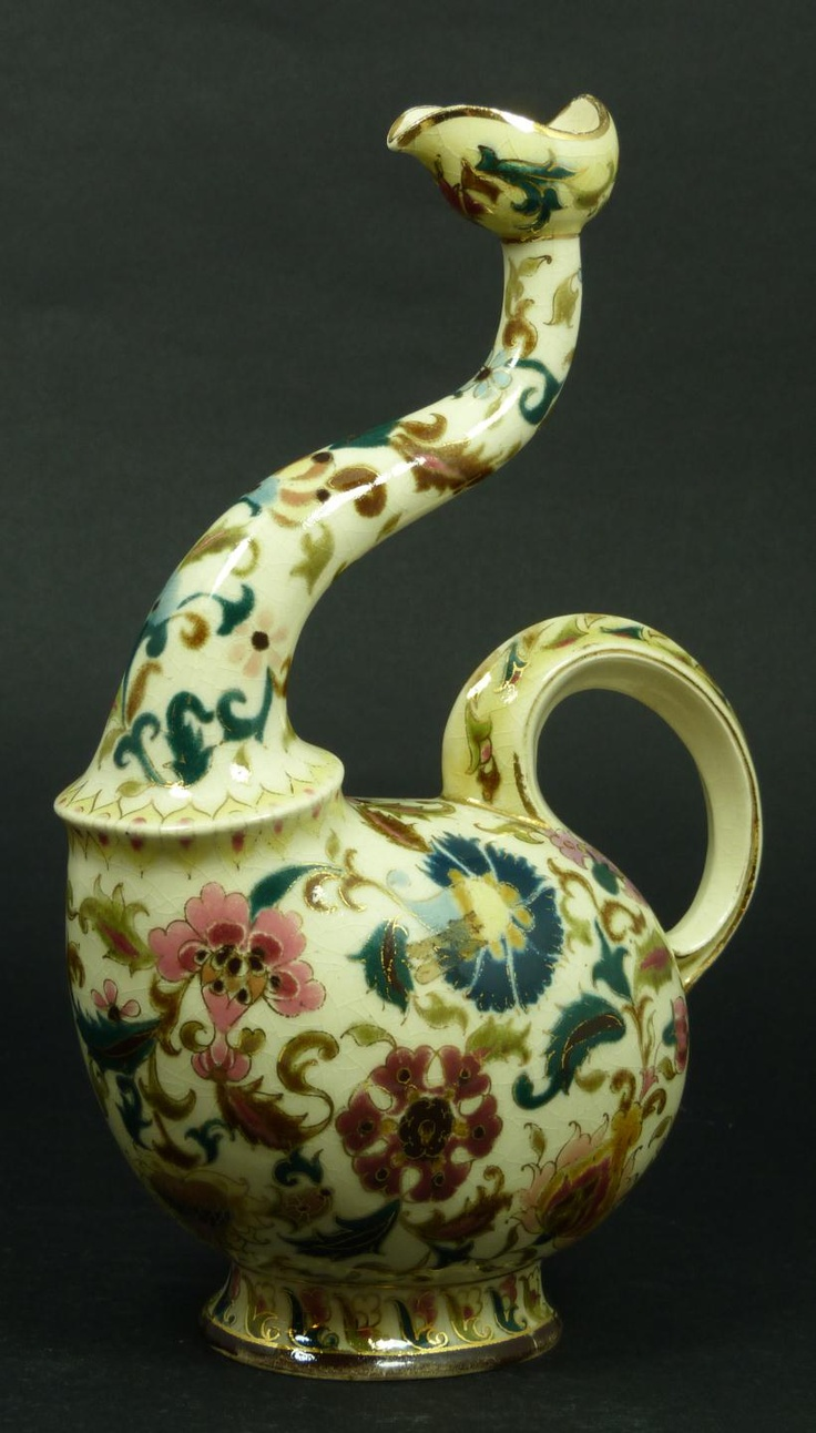 Antique Zsolnay Hungarian pottery olive oil vessel