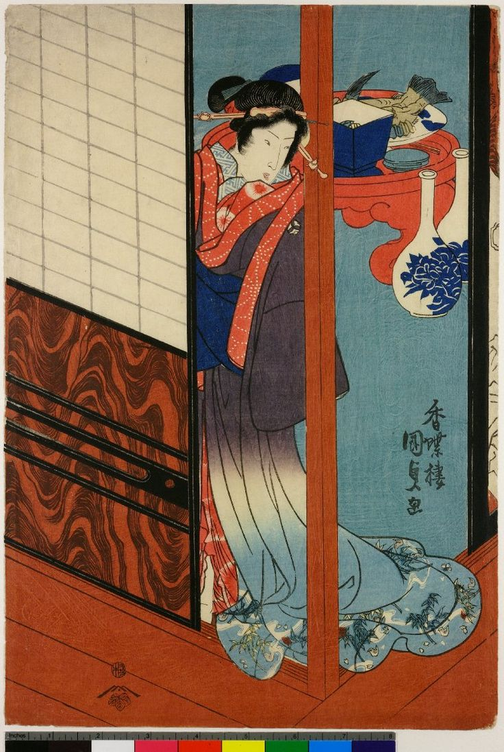 Utagawa Kunisada, Young woman by slide door, with porcelain in background, print, 1830-1839, @britishmuseum  London