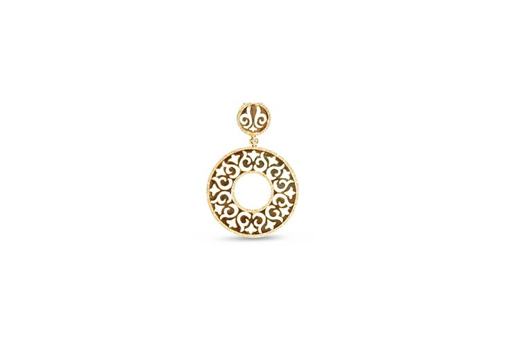 18 ct rose gold filigree circle pendant with white diamonds
