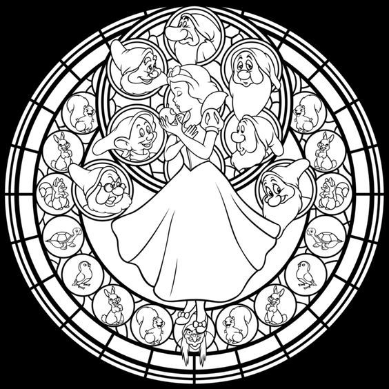 Disney Snow White Stained Glass Coloring Page Snow White