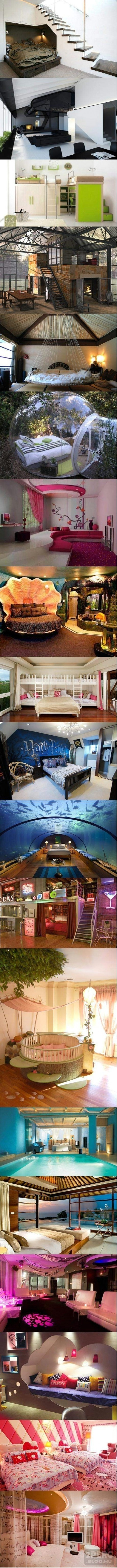 8th from the bottom - the one just below the aquarium room - is so awesome. Not necessarily the style, but the idea of the bedroom curtained off in that cubbyhole beneath the stairs in a loft? Love it! :D