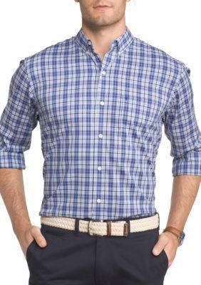 Izod Men's Long Sleeve Advantage Performance Stretch Tattersall Shirt - Dusted Peri - Xxlarge