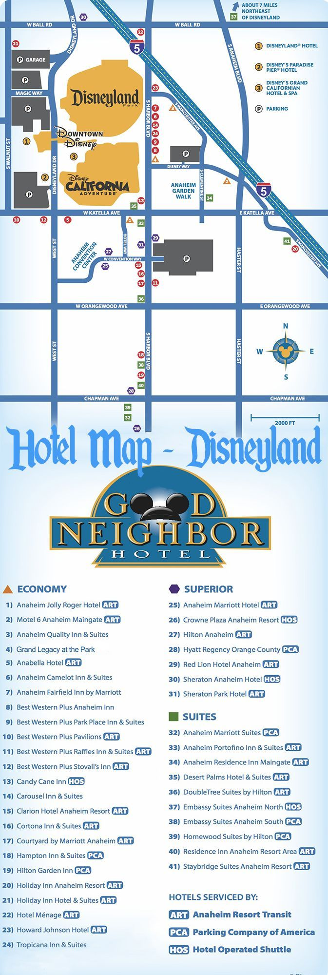 Map of Disneyland-Area Hotels, plus reviews of 35 hotels in Anaheim near Disneyland!