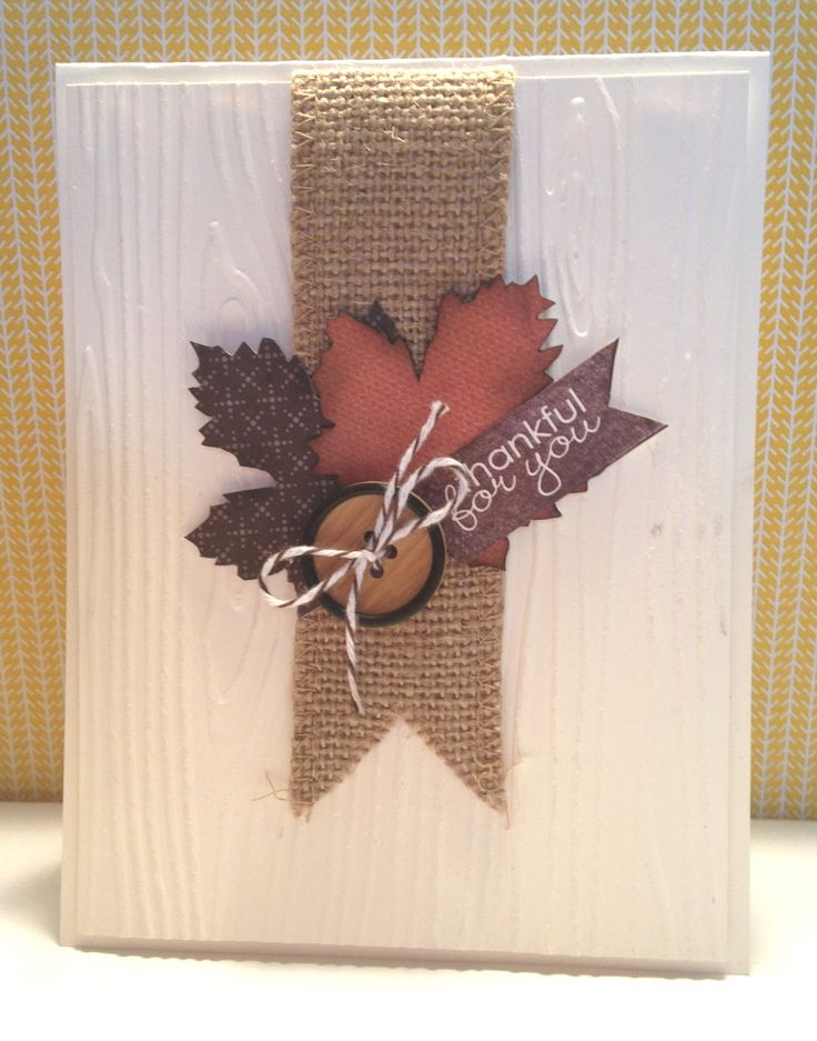 This is another of the fall cards we made this past weekend. The inspiration for this card came from a card I thought I saw  on Pinterest, but I didn't pin it and couldn't find it again. I loved th...