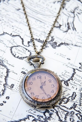 vintage clock + map = perfection