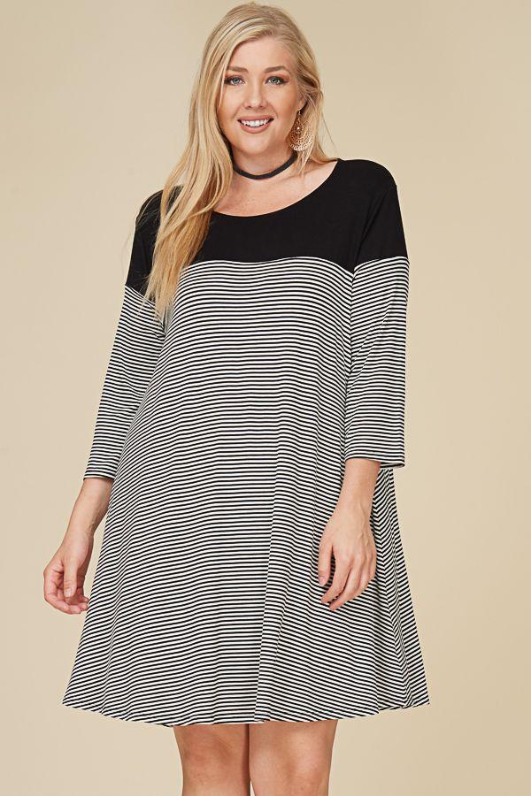 STRIPED CONTRAST SHIFT DRESS