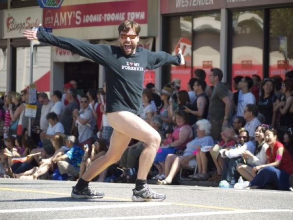 The Canadian Foreskin Awareness Project's Glen Callender has been rejected from this year's Pride parade for going full-frontal in last year's parade.