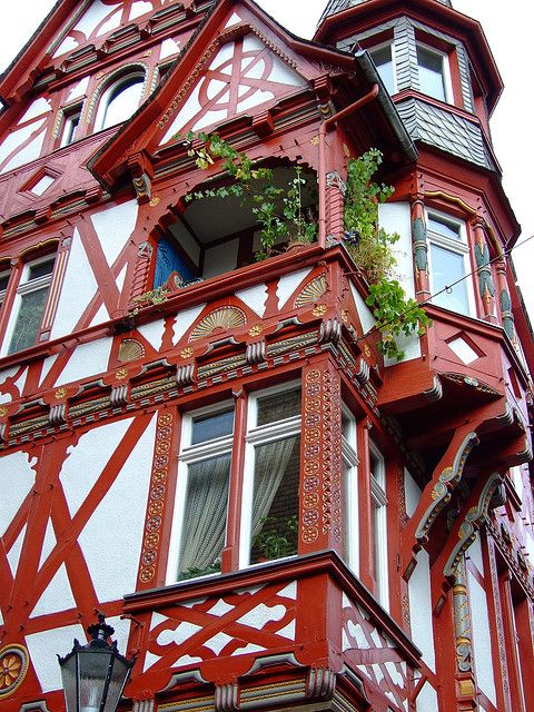 Beautiful red timber house in Marburg, Germany (by…