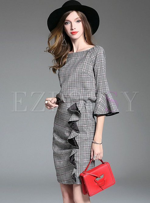 Work Plaid Flare Sleeve Two-piece Outfits