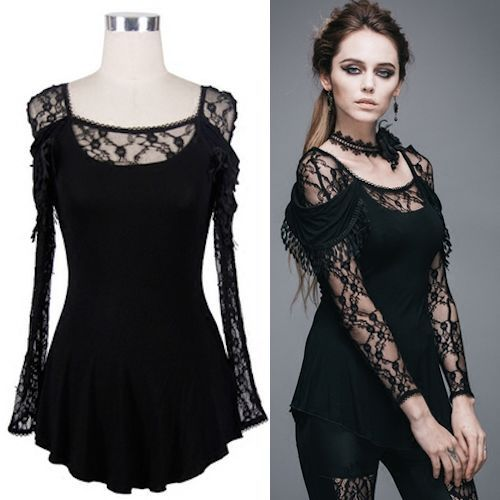 Women Black Embroidered Lace Long Sleeve Gothic Fashion Tunic Top SKU-11409392