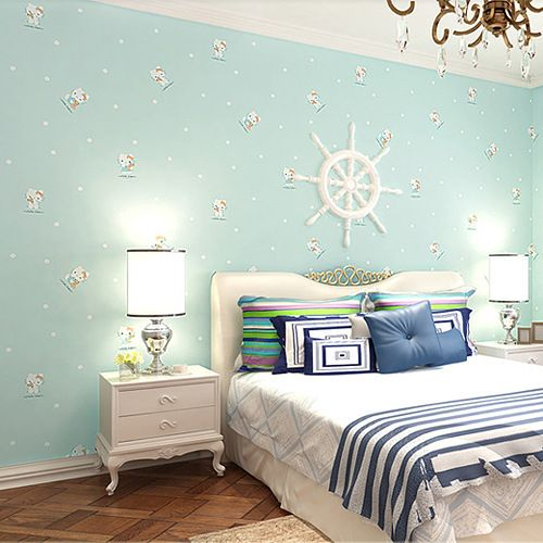 Cute Kitty Children S Room Blue Woven Wallpaper Boys And Girls Bedroom Backdrop Specials