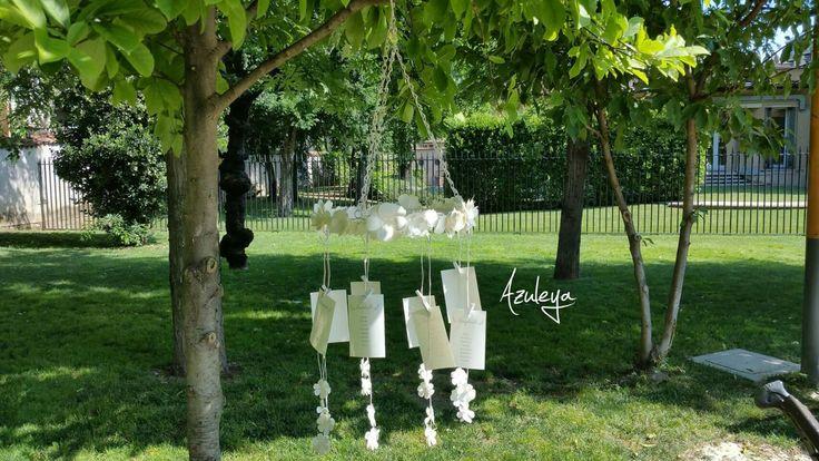 Tableau de mariage appeso modello chandelier decorato con fiori di carta fatti a mano e firmato Azuleya