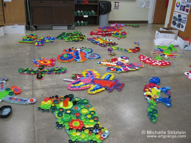 Plastic Bottle Cap Crafts | Michelle Stitzlein | Bottle cap art | Plastic bottle caps, found ...