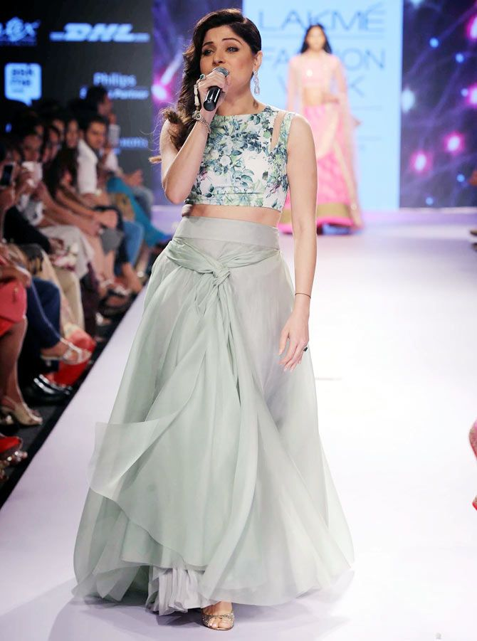 Love the colour combinations and the design! Kanika Kapoor at Anushree Reddy's show - LIFW' 2015