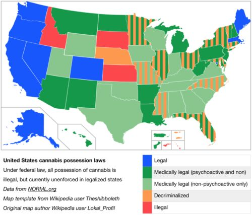 Legality Of Cannabis Possession In The United States By State Territory