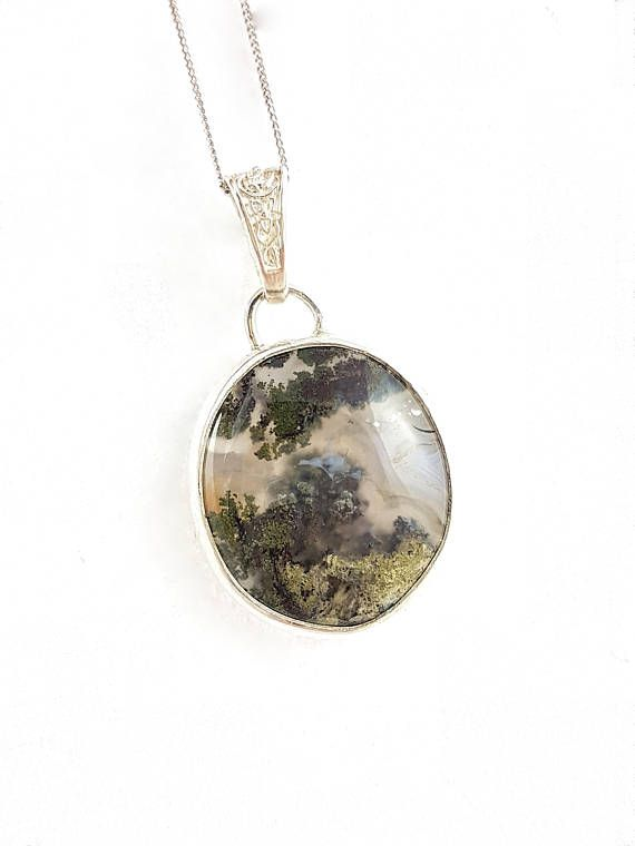 Beautiful pendant silver 925 with agate moss  nice pendant #agate moss#moss agate#silver pendant#pendant with agate#agate and silver#agate moss pendant3agate