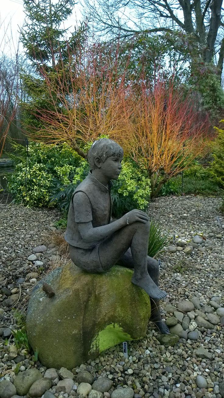 Young boy in John Massey's garden. Owner of Ashwood Nurseries Kidderminster UK