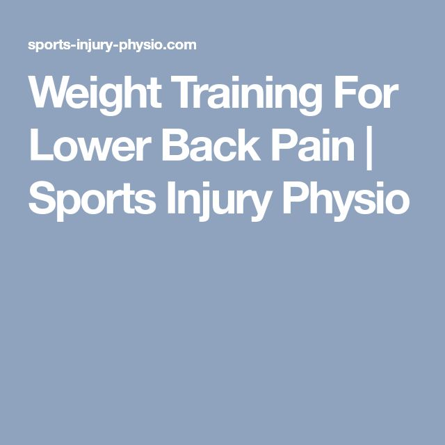 Weight Training For Lower Back Pain   Sports Injury Physio